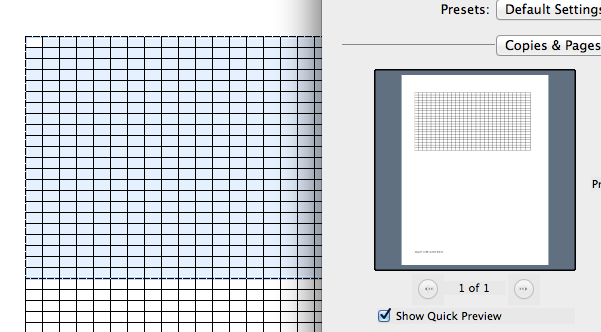 graphic relating to Printable Knitting Graph Paper identified as Developing knit graph paper upon mac, working with Excel and Quantities