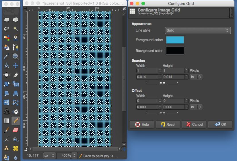 gimp color grid